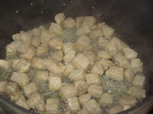 Browning Pork Cubes for Posole