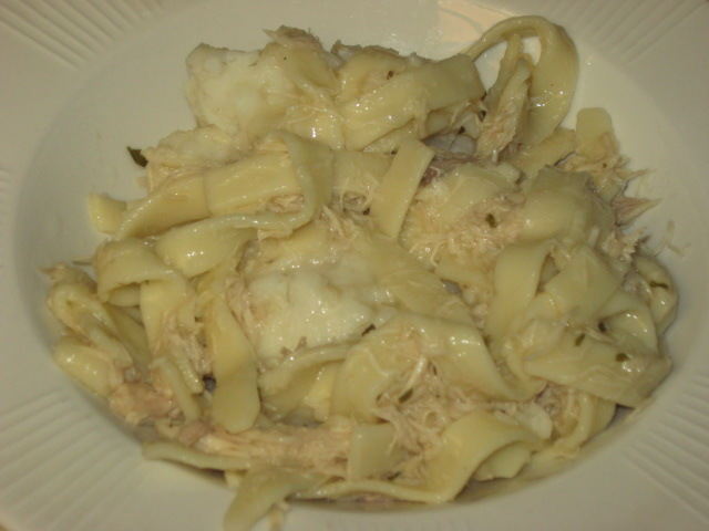 Homemade Chicken and Noodles over mashed potatoes