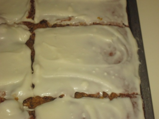 Pumpkin Bars iced and cut