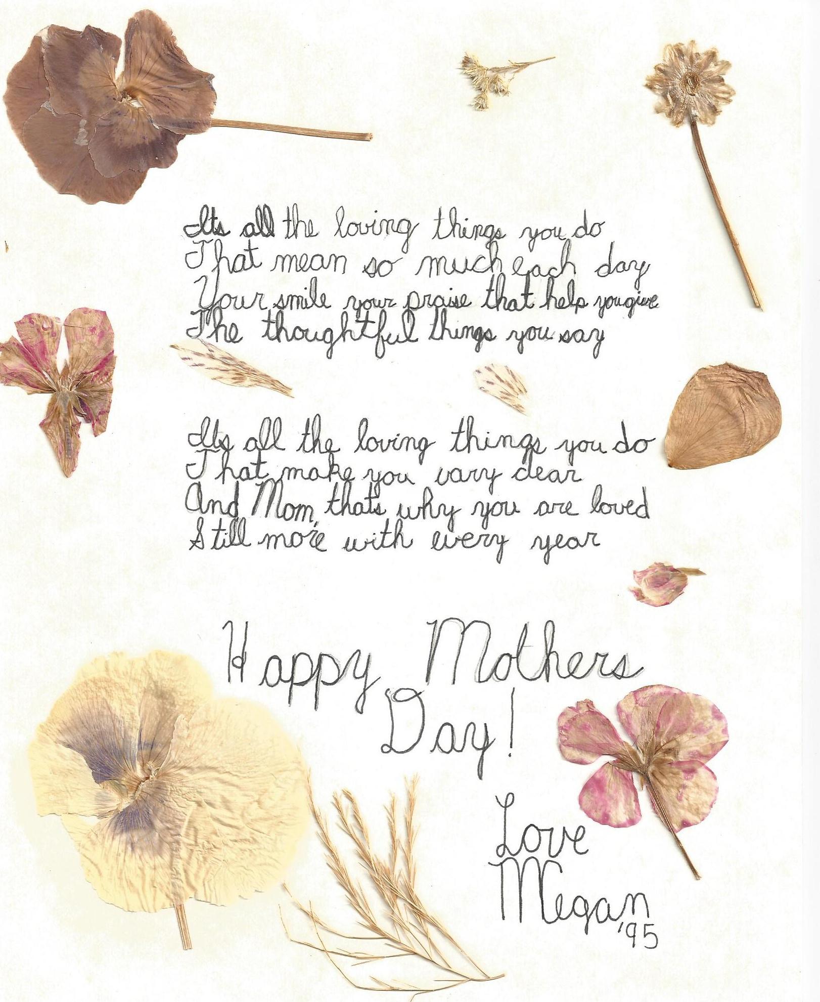 efa35fd762eda Mothers Day Poem from Megan 1995