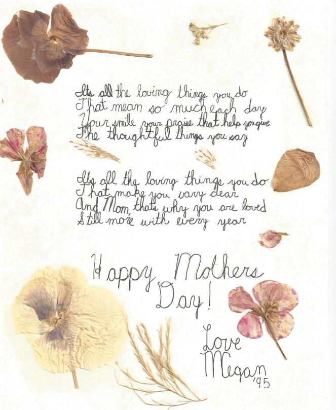 Mothers Day Poem from Megan 1995