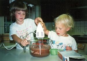 Megan and Sarah bake a cake 1991