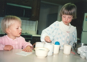 Sarah and Megan dye Easter Eggs 1991